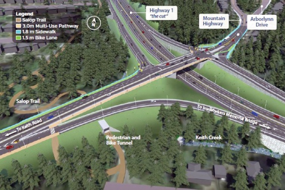 The Highway 1 at Mountain Highway interchange project includes four ramps, a new, wider structure with signalized intersections, and realignment of Mountain Highway to Brooksbank Avenue at Keith Road.