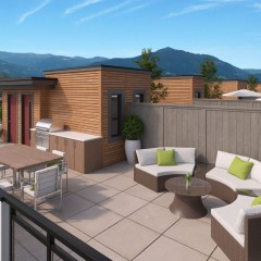 3 bedroom townhomes with braggable roof-top sky lounge.